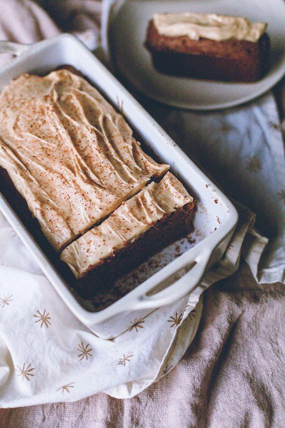 Chocolate pound cake with peanut butter frosting recipe by The Baking Bird