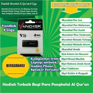 Flasdisk Murottal Al Qur'an 8 Giga Merk Vandisk