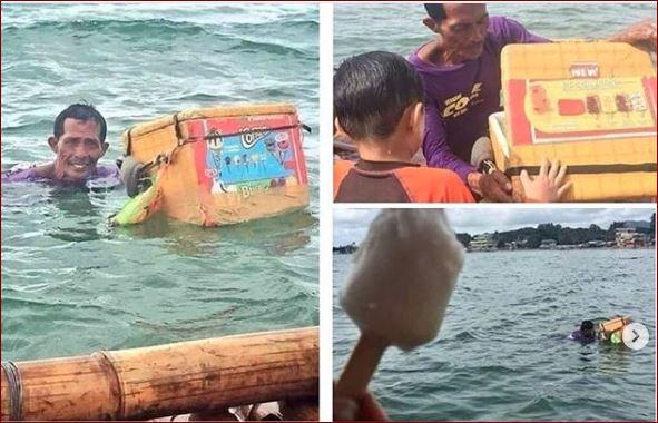 Hanya Demi Lembaran Uang Ribuan, Bapak Penjual Es Ini Rela Berenang Dilaut Untuk Berjualan