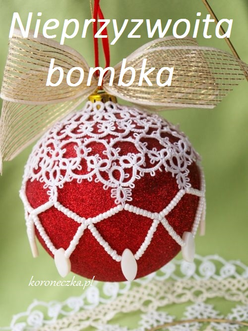 Bombka we frywolitce z koralikami