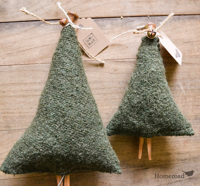 large and small boiled wool christmas trees