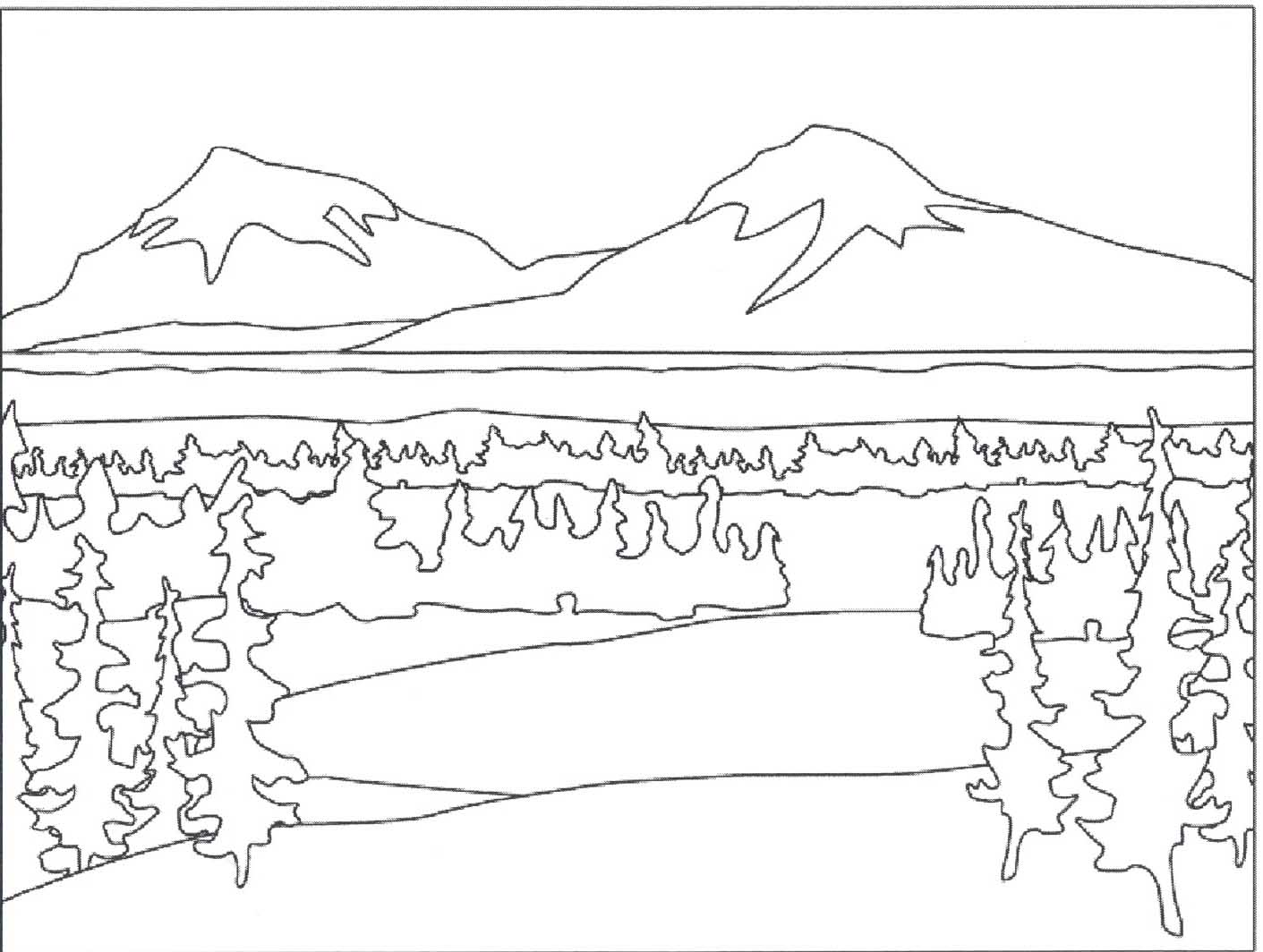 Mountain Mountains Coloring Page
