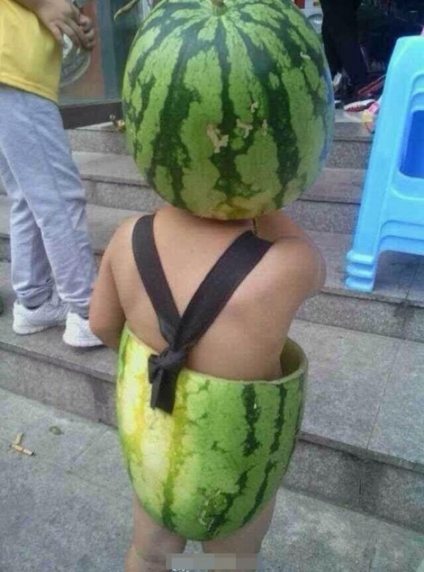 Chinese kids in watermelon dress