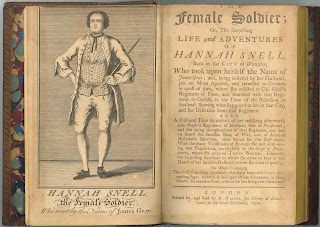 "A title page for ""The Female Soldier."" The opposite page shows a portrait of Hannah Snell."
