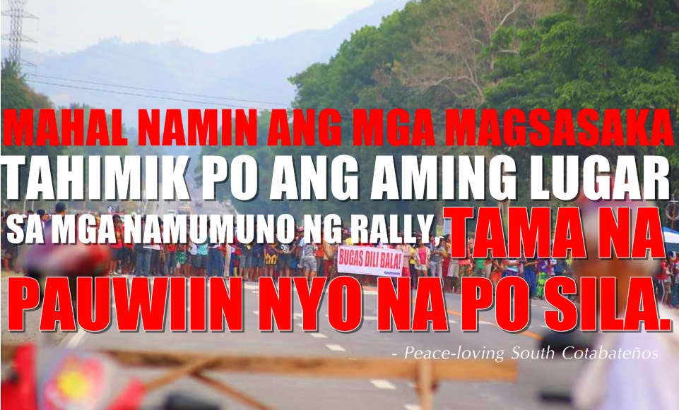to rallyists in koronadal city locals say go home i love