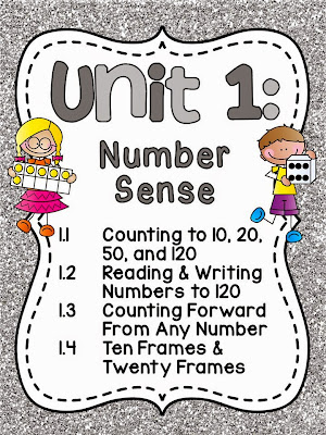 AMAZING number sense first grade math unit that practices counting to 10, 20, 50, and 120, reading and writing numbers to 120, counting forward from any number, 10 frames, and 20 frames!