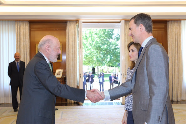 Queen Letizia and King Felipe attended an audiences with the Board of the Foundation Spanish Committee of United World Colleges