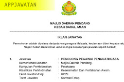 Jawatan Kosong di Majlis Daerah Pendang - 24 Januari 2019