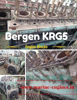 Bergen Spare Parts, Bergen KRG 5 Blocks, cranksahft, camshaft, ship, cylinder, pump