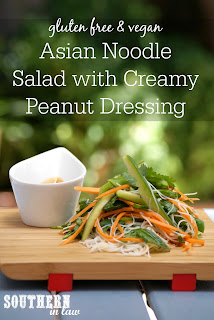 Asian Rice Noodle Salad Recipe with Creamy Peanut Butter Dressing