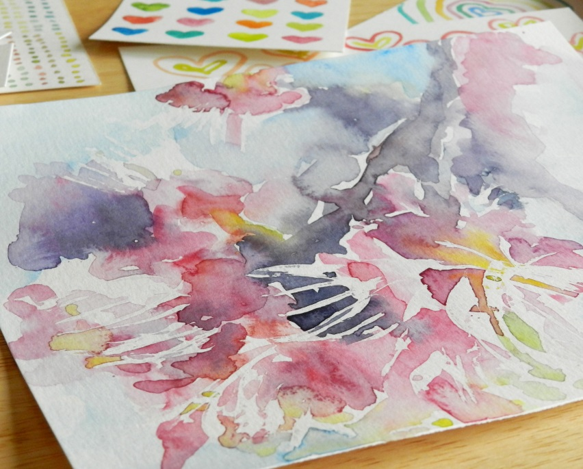 Original Watercolor Pink Blossoms Painting by Elise Engh (Grow Creative)