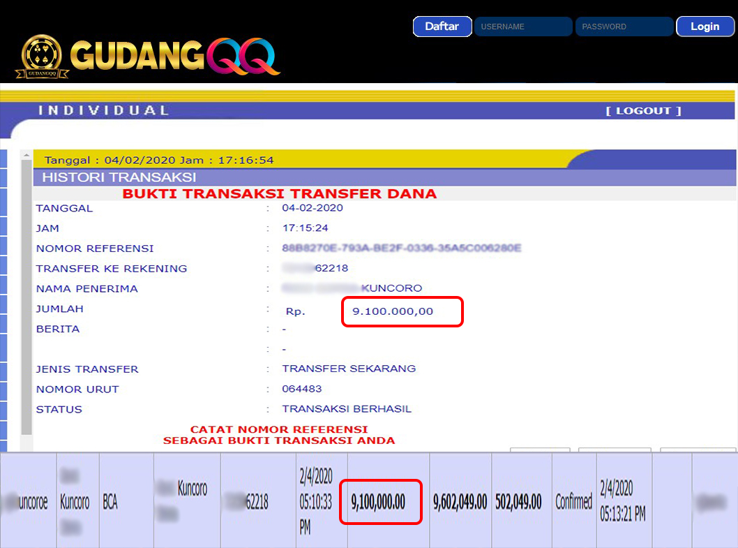 Selamat Kepada Member Setia GudangQQ WD sebesar Rp. 9,100,000.-