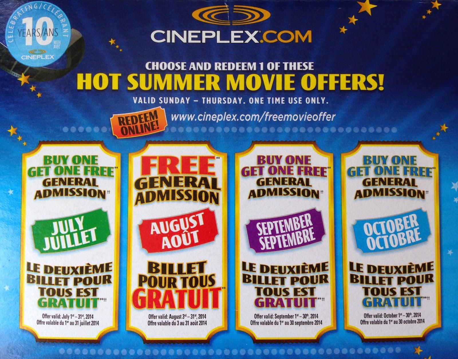 cineplex free admission