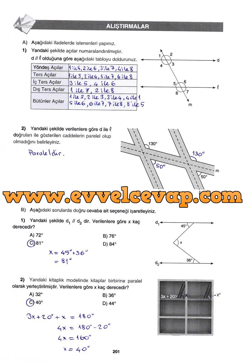 7. Sınıf Gizem Yayınları Matematik Ders Kitabı 201. Sayfa Cevapları Doğrular ve Açılar