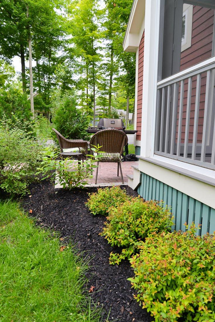 prince edward county landscaping, cottage landscaping, country garden, four seasons landscaping pec, red herringbone brick walkway