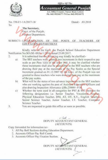 Accountant General Notification School Education Teachers