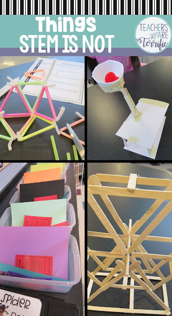 STEM is a lot of things: Collaboration rich, fun, creative, full of team work, and so much more. But, there are definitely some things that STEM is NOT. STEM is not totally spontaneous, or just fluff, or cookie cutter projects. Here's a blog post explaining this and more!