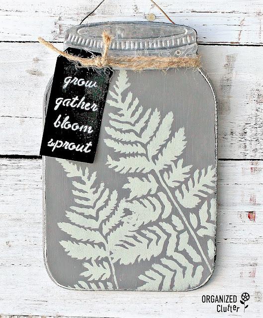 Upcycled Dollar General Mason Jar Shaped Sign #stencil #upcycle #fern