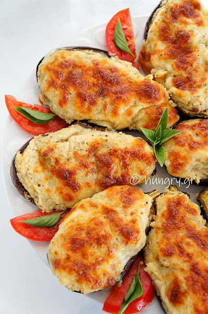 Eggplants Stuffed with Potato Purée & Mozzarella