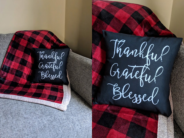 personalized pillow, thankful grateful blessed, fall decor, fall pillow