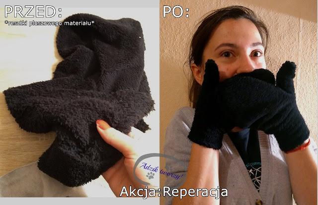 Akcja Reperacja u Adzika - rękawiczki DIY ze ścinek
