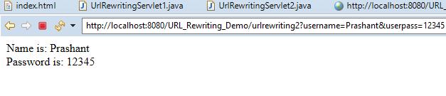 URL Rewriting in Servlet