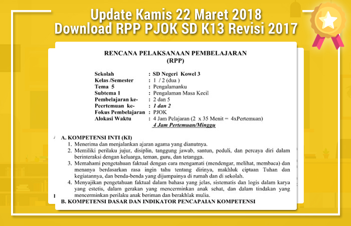 Download RPP PJOK SD Kurikulum 2013 Revisi 2017