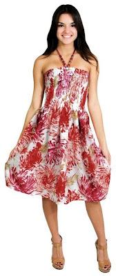 La Leela 100% Cotton Texture Printed Smocked Halter Backless Short Tube DressRed Spring Summer 2017