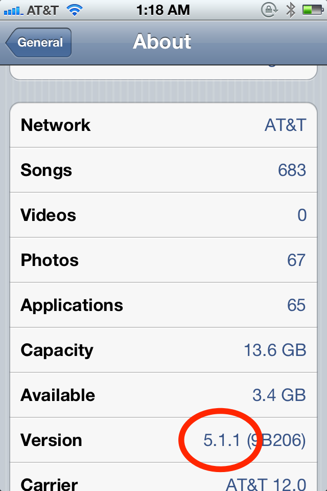 Hasil gambar untuk iphone 4  settings about version