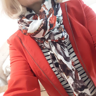 image showing red jacket with striped top outfit
