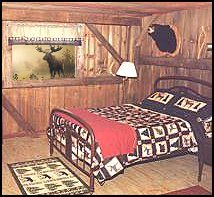 hunting lodge cabin wall decorations-bears log cabin - rustic style decorating - Cabin decor - bear decor - camping in the northwoods style  - Antler decor - log cabin boys theme bedroom - Cabin Bedding - Rustic Bedding - rustic furniture - cedar beds - log beds - LOG CABIN DECORATING IDEAS - Swiss chalet ski lodge murals - camping room decor
