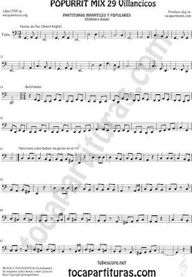 Partitura de Tuba Popurrí Mix Villancicos Noche de Paz, Gatatumba y Pero Mira como Beben los Peces en el Río Sheet Music for Tuba