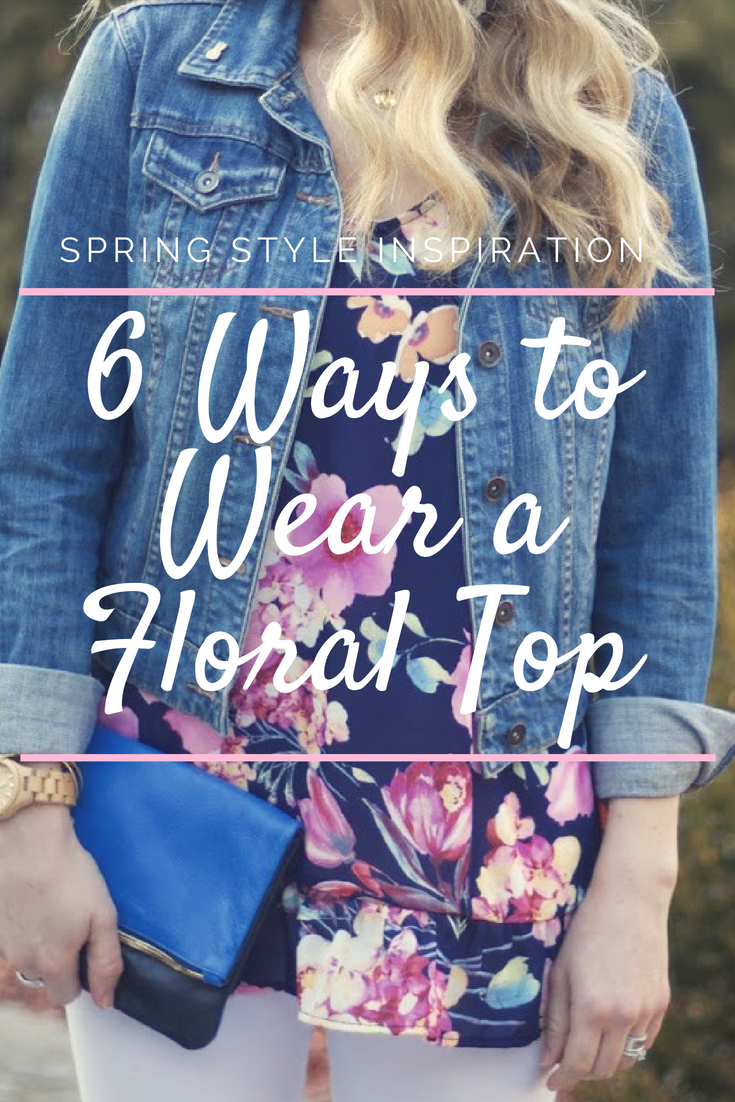 6 Ways to Wear a Floral Top, navy floral peplum top, denim jacket, white jeans, pink pencil skirt, distressed jeans, pink sweater