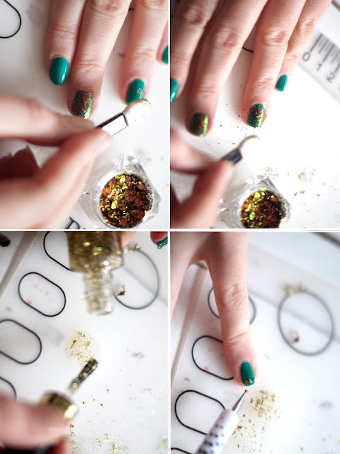tutoriel paillettes nail art