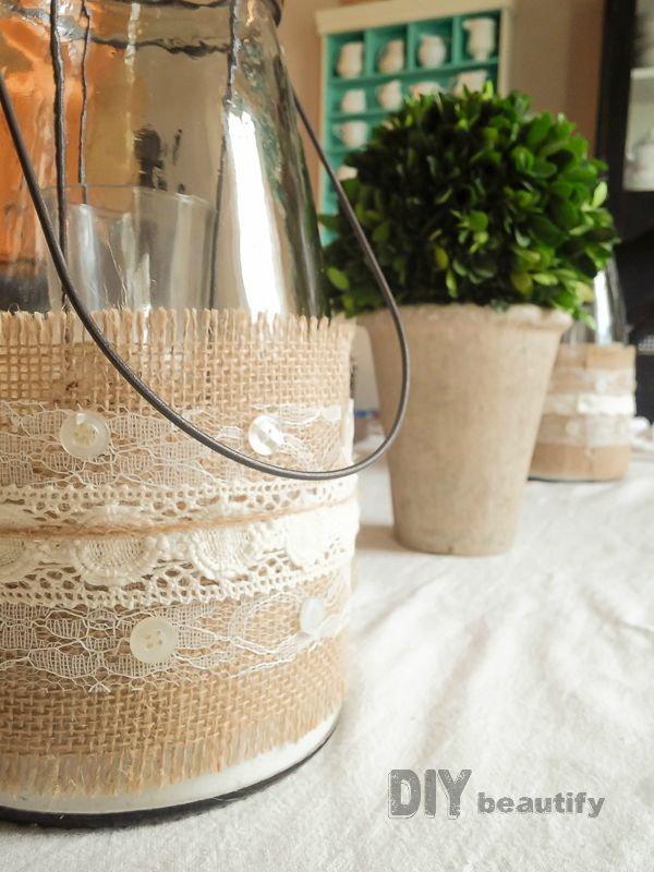 Burlap And Lace Wrapped Vessels. Get This Fabulous (and Easy) Tutorial At  DIY