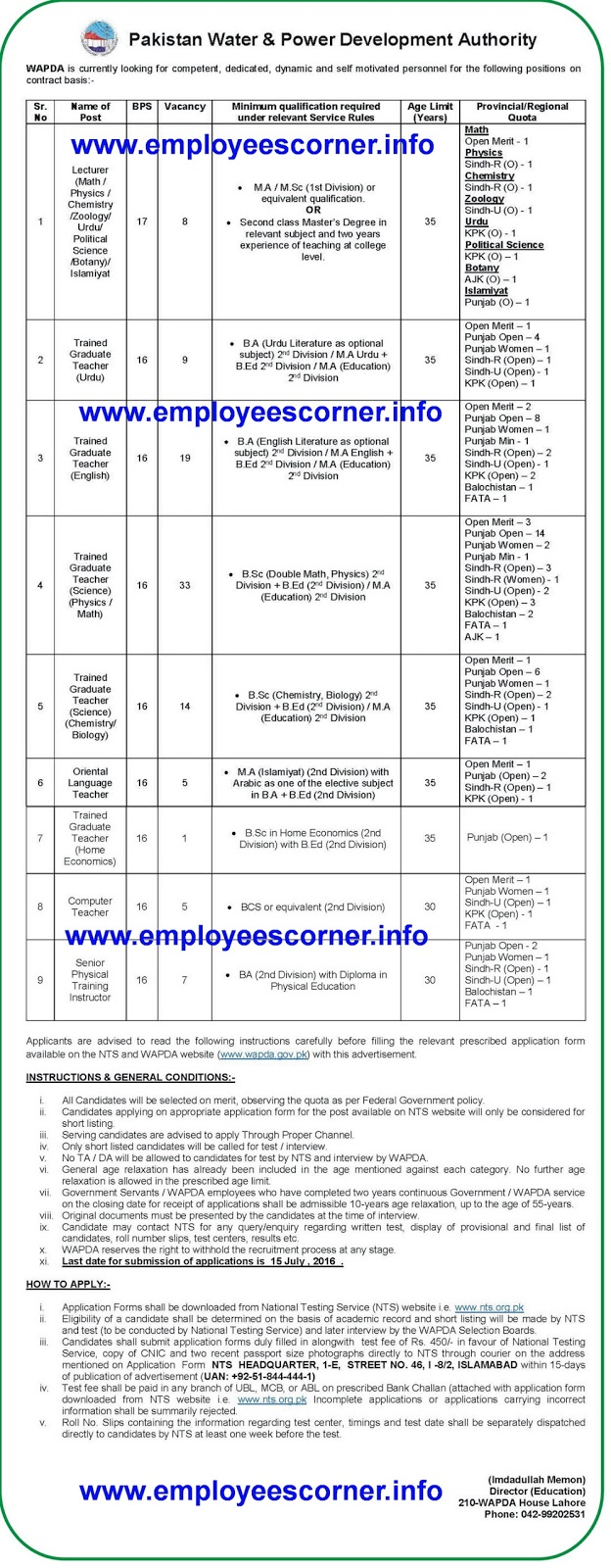 Jobs in Pakistan WAPDA Jobs 2016 for Teachers