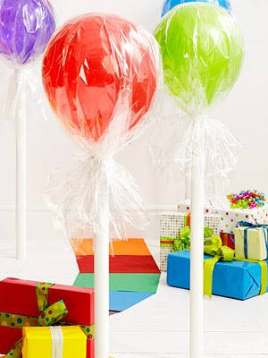 Original party idea candy balloons, decorar con globos