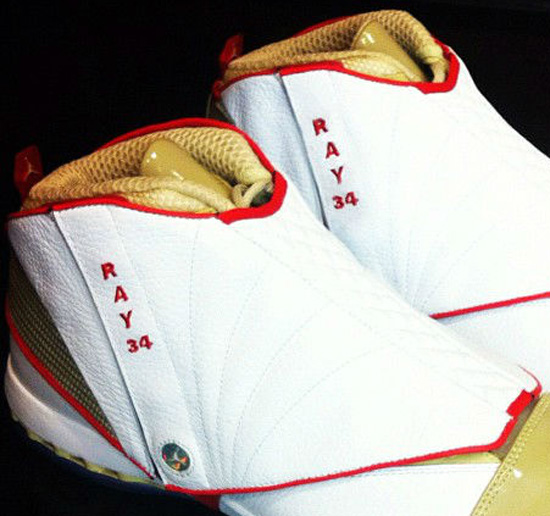 33dcf60b6e70 This PE edition of the Air Jordan XVI Retro features a white-based leather  upper with red and gold accents. Made for Ray Allen to wear on opening  night of ...