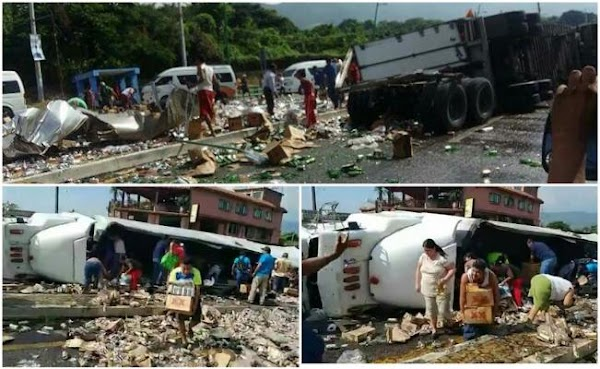 Pobladores saquean tráiler de cerveza accidentado en Chiapas -