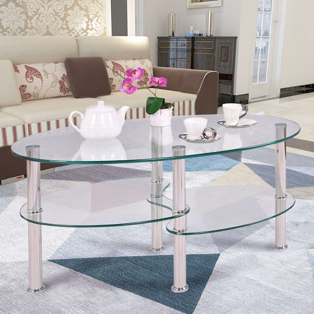 Deal: Tempered Glass OvalSide Coffee Table-Transparent – $52.99