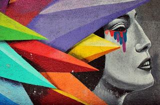 arte 3d de mulher com lagrimas coloridas