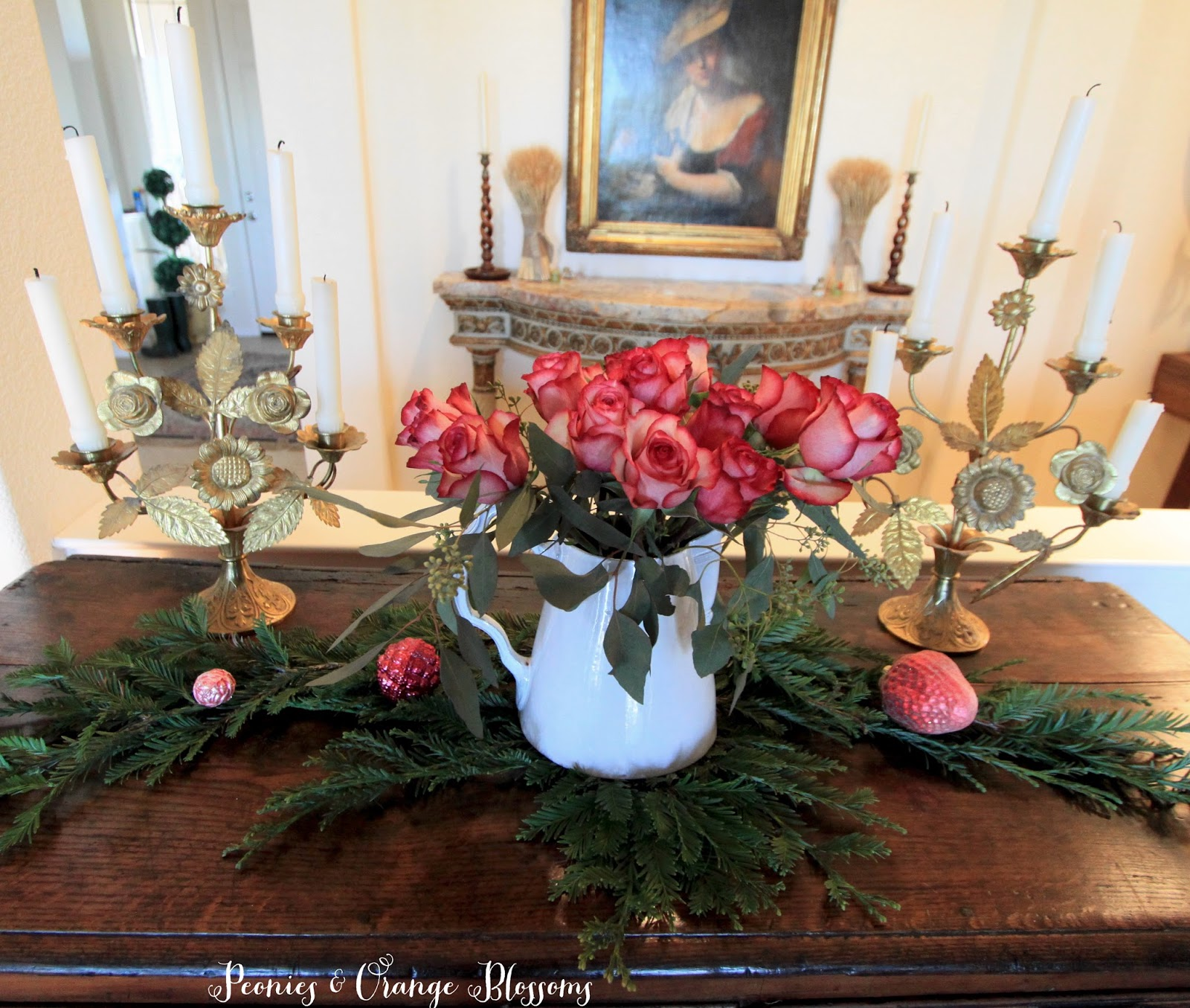 French Country Christmas Decor ideas and How to Create a French Country Vignette for the Holidays in 5 minutes!