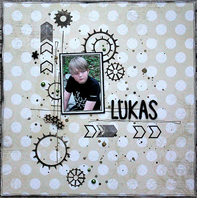 Lukas Scrapbook Page by Ulrika Wandler using BoBunny Double Dot Damask Collection