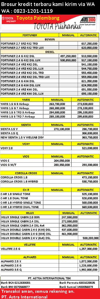 brosur harga kredit mobil toyota palembang 2021