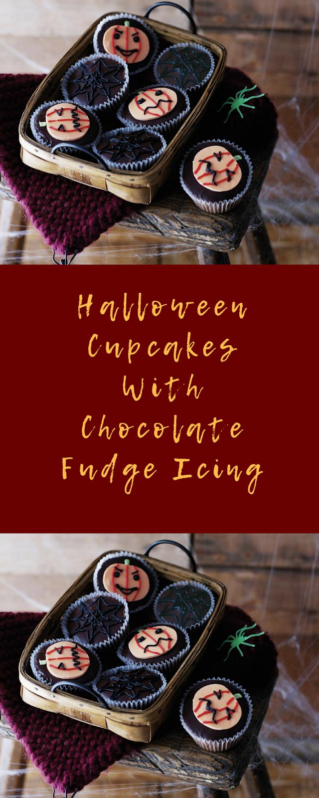Halloween Cupcakes With Chocolate Fudge Icing