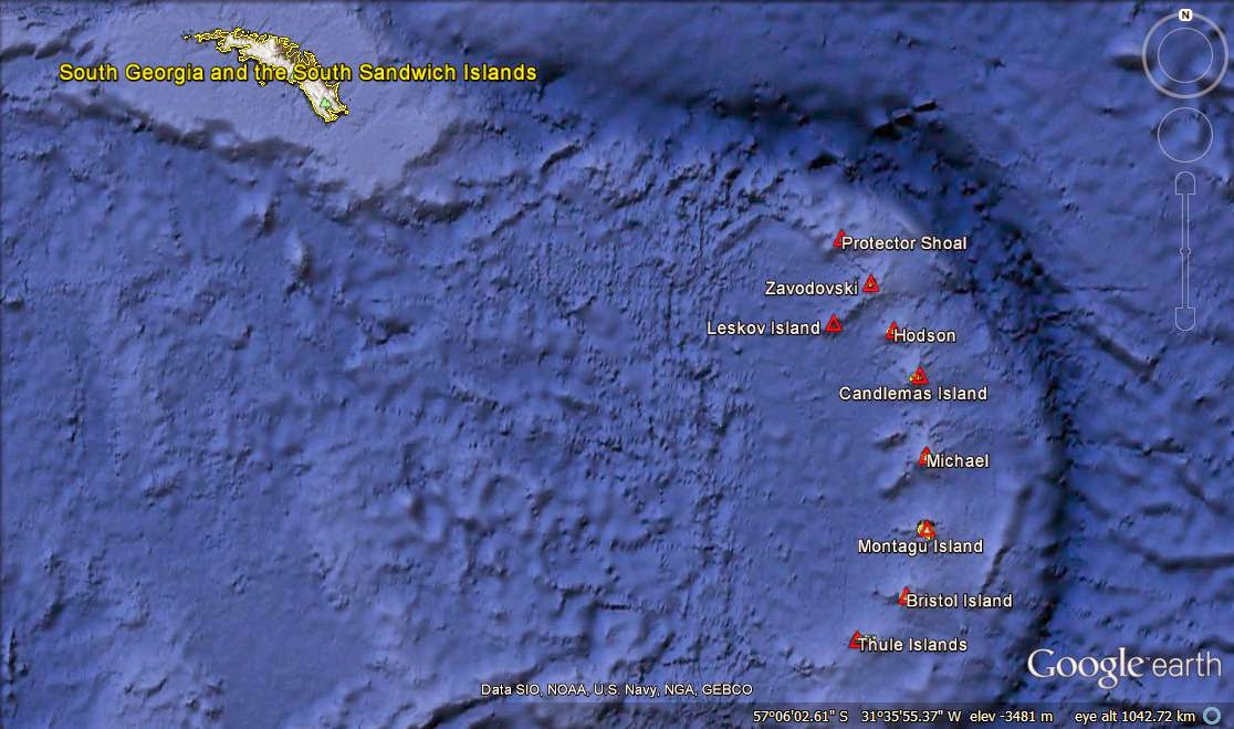 Map of the South Sandwich Islands. IMAGE: Google Earth.