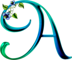 Abecedario Azul y Verde con Flores. Green and Blue Alphabet with Flowers.