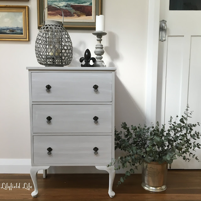 washed grey vintage drawers by Lilyfield Life