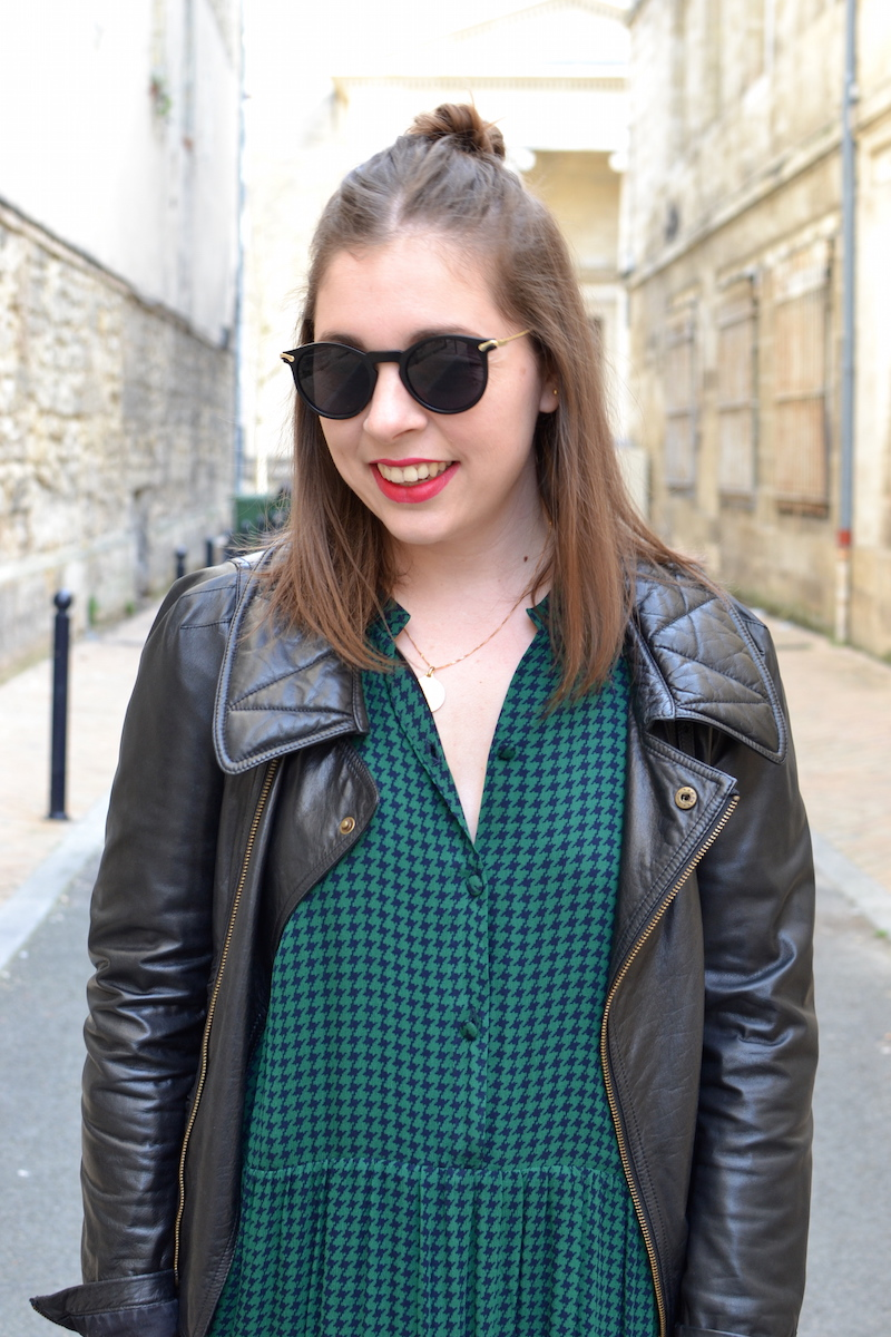 lunette de soleil Asos, robe verte American Vintage, perfecto noir Isabel Marant