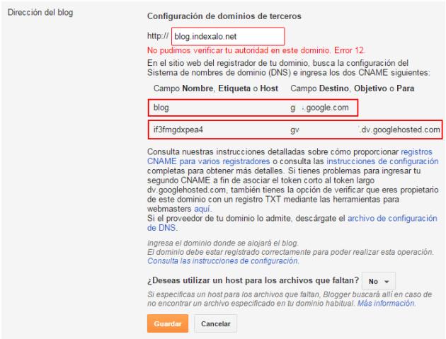 Registros CNAME de Blogger